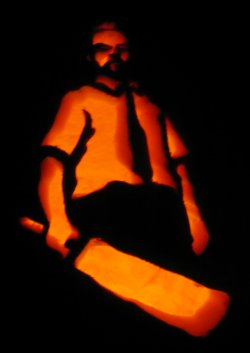 shaun of the dead pumpkin in the dark